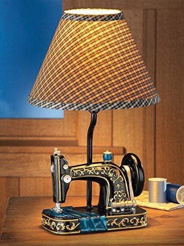 Sewing Machine Lamp & Gingham Shade by Collections Etc