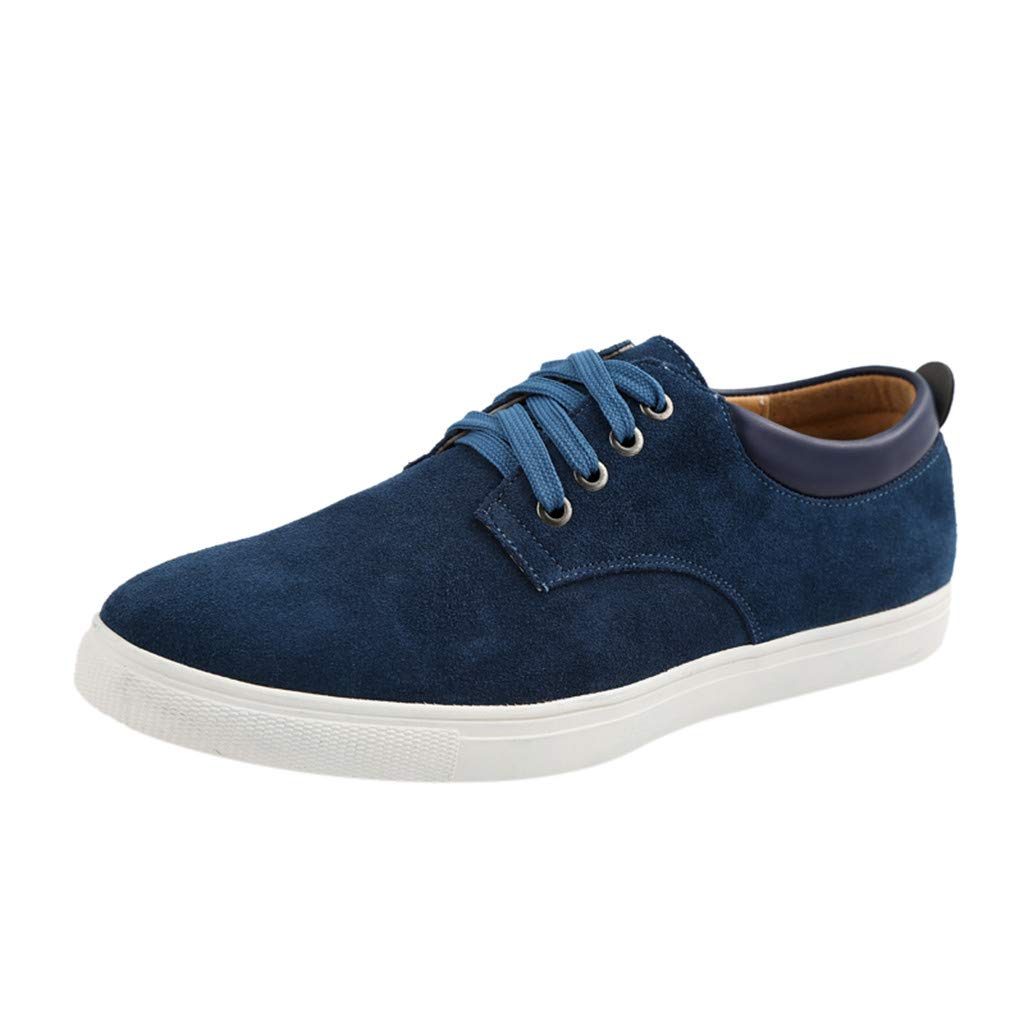 Respctful✿ Men's Sneaker Flat Casual Shoes Breathable Flat Fashion Suede lace up Shoes for Men Classic Lightweight Shoes Blue