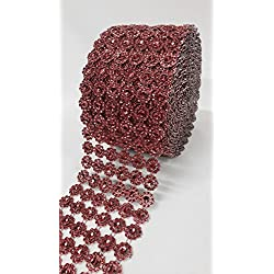 "Ben Collection 4"" X 10 Yards (30 Feet) Flower Diamond Mesh Faux Rhinestone Ribbon Wrap for Wedding, Party, and Events Decoration (Burgundy)"