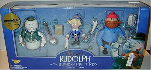 Rudolph and The Island of Misfit Toys Figure Collection - Yukon Cornelius, Hermey and Sam the Snowman