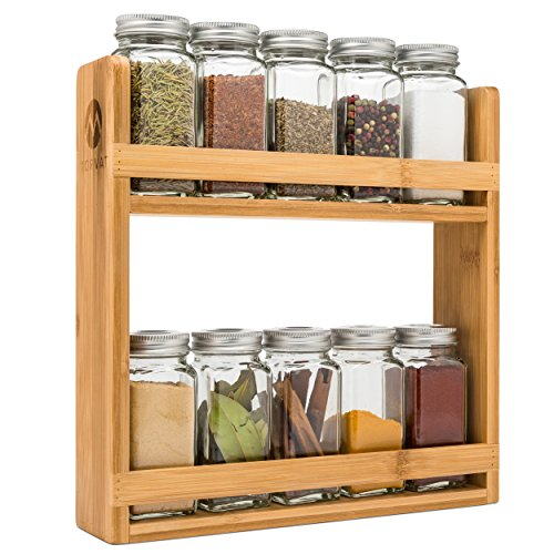 - Bamboo Spice Rack Organizer by MORVAT | Rustic and Simple Design | For the Amateur Cook or the Gourmet Chef | Bamboo Wood