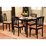 Small Kitchen Tables Ideas Metropolitan 5-Piece Wooden Dining Set, 1 Table & 4 Chairs (Black)