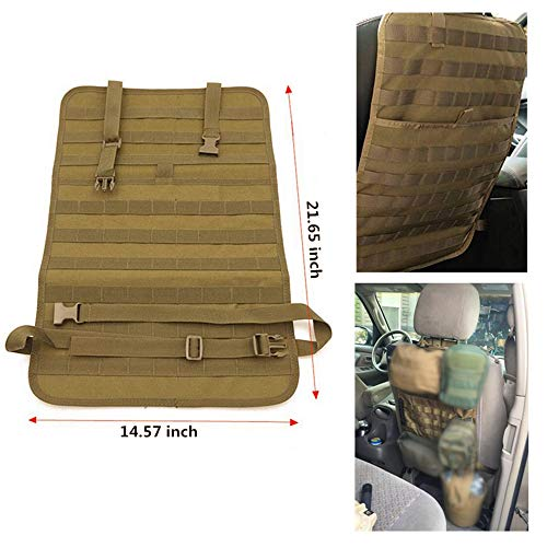 FIRECLUB Car Seat Back Organizer, Tactical MOLLE Vehicle Panel Car Seat Cover Protector Universal Fit (Tan) ()