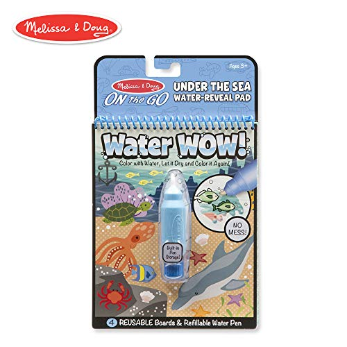 Melissa & Doug On the Go Water Wow! Under the Sea Reusable Water-Reveal Activity Pad, Chunky-Size Water Pen -