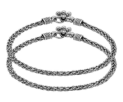 D&D Crafts MODERN STERLING SILVER ANKLET WITH OXIDIZED SILVER PLATING For Women, Girls by D&D