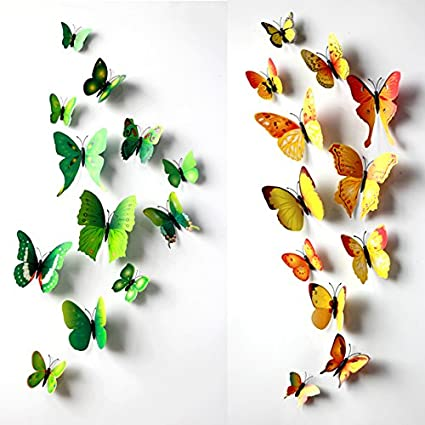 Green 24PCS 3D Butterfly Wall Stickers Decor Art Decorations 3 Size