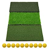 SkyLife 3-Turf Golf Hitting Grass Mat, Portable Training Fairway Rough TEE Turf, Driving Chipping Putting Golf Equipment, Home Backyard Garage Outdoor Practice, 25''x16''
