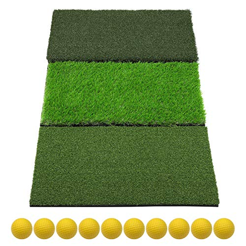 SkyLife 3-Turf Golf Hitting Grass Mat, Portable Training Fairway Rough TEE Turf, Driving Chipping Putting Golf Equipment, Home Backyard Garage Outdoor Practice, 25''x16''