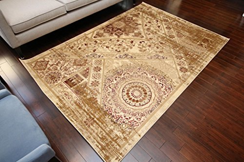 Feraghan/New City Traditional Antique Isfahan Wool Persian Area Rug, 2' x 3', Beige/Cream/Brown by Feraghan/New City