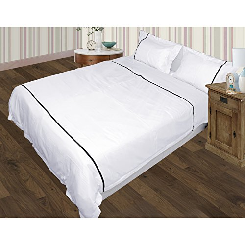 - Designer 3PCs Duvet Set with Single Parallel Piping With Zipper & Corner Ties 100% Egyptian Cotton 600 Thread Count (Full/Queen, White and Black)