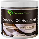 Coconut Oil Hair Mask Conditioner - 8 oz 100% Natural Deep Leave In Conditioner - Sulfate Free Damaged Hair Treatment - Moisturizing Intensive Repair Restores Shine & Nourishes Scalp Premium Nature