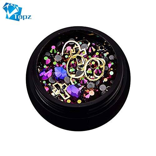 Halloween Mixed Nail Design Colorful Micro Beads and Gemstone Circle 3D Nail Art Glitter Purple Non Hotfix Diamond -