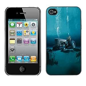 Cubierta de la caja de protección la piel dura para el Apple iPhone 4 / 4S - tractor global warming diving