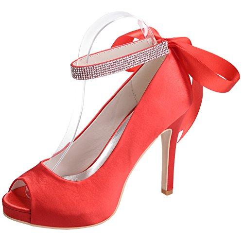 Loslandifen Damesschoenen Elegante Peep Toe Satijn Pumps Enkelbandjes Stiletto Hoge Hak Trouwschoenen Rood