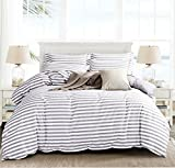queen duvet cover grey - Microfiber Duvet Cover Set,Striped Duvet Cover,Contrast 2 Tone Reversible Design,Zipper Closure,Queen Grey 90 by 90 inch