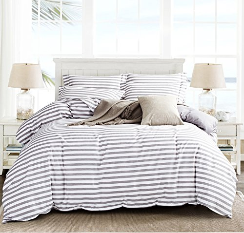Microfiber Duvet Cover Set,Striped Duvet Cover,Contrast 2 Tone Reversible Design,Zipper Closure,Queen Grey 90 by 90 inch - Two Tone Bath Light