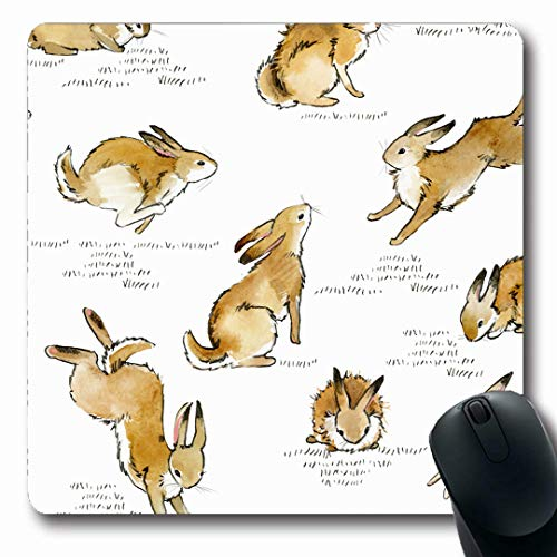 Ahawoso Mousepads Art Hare Cute Bunny Rabbit Watercolor Vintage Pattern Domestic Drawn Design Plant Oblong Shape 7.9 x 9.5 Inches Non-Slip Gaming Mouse Pad Rubber Oblong Mat