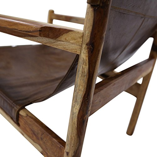 Wanderloot Genoa Solid Sheesham and Leather Sling Chair (India) | This Item is Beautiful Exotic Hardwood by Porter International Designs. (Image #7)