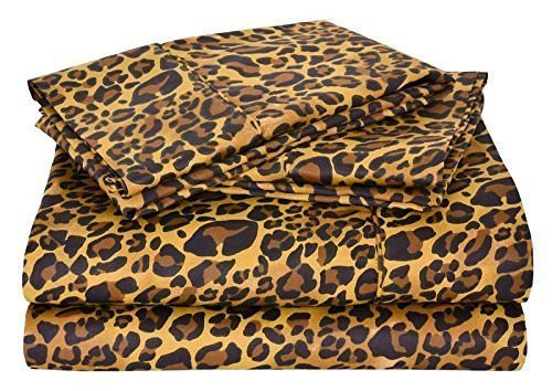 Ultra Soft 600 Thread Count 4-Piece 100% Cotton Sheets - Leopard Print Long-staple Cotton Queen Sheets, Fits Mattress Upto 15'' Deep Pocket, Sateen, Bed Sheets and Pillowcases
