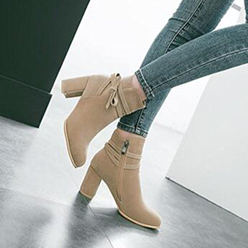 Easemax Mujeres Trendy Frosted Bows Correas Puntiagudas Mid Chunky Heel Side Zipper Botines Beige