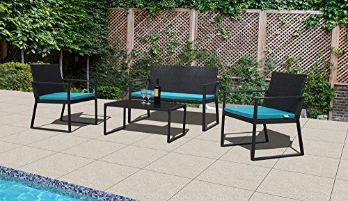 PATIORAMA 4-Piece Outdoor Patio Furniture Sectional Conversation Set, Black Wicker with Blue Cushions, Loveseat and Two ()