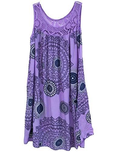 Plage Swing Coutures En Dentelle Imprimée Sans Manches Jaycargogo Des Femmes Mini-robe D'été Robe Violette