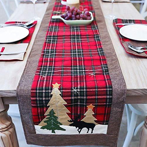 Christmas Snowflake Reindeer Elk Table Runner Xmas Party Table Cover Ornaments