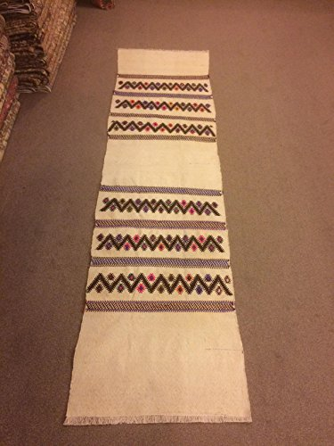 2.6x9.7 Feet Village Rug Kelim Rug Beige And White Narrow Rug Runner Ethnic Rug Runner Vintage Aisle Rug Corridor Rug Hallway Carpet Kitchen Rug.Code:MY675