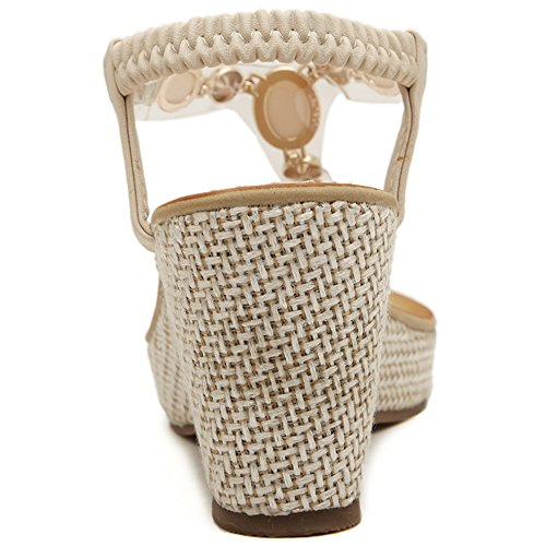 Sweet Bohemian Beaded Beach Women's Summer Heel Shoes Sandals Wedge Beige Toe Clip Hattie q8ZpS5w