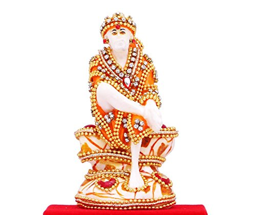 PAPILON Handmade Gold Plated Sai Baba Spiritual Idols Decorative Puja / Vastu Showpiece Religious Pooja Gift Item & Murti For Mandir ,Temple,Home Decor & - Pooja Decor Home