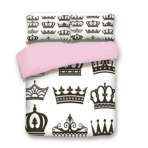Pink Duvet Cover Set,Queen Size,Symbol of Royalty Crowns Tiaras for Reign Noble Queen Prince Princess Cartoon Image Decorative,Decorative 3 Piece Bedding Set with 2 Pillow Sham,Best Gift For Girls ()
