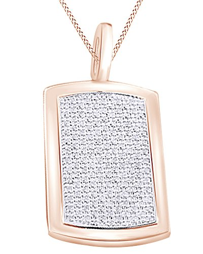 Round Cut Cubic Zirconia Dog Tag Hip Hop Pendant in 14k Rose Gold Over Sterling Silver (1.99 Cttw) by AFFY