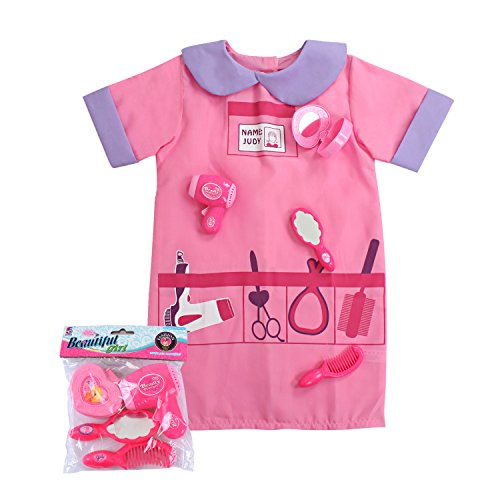 Sinuo Girls Hair Stylist Role Play Set, Dress Up Costumes for Hairdresser with Accessories Beautician Pretend Costume with Hair Tools Fit Kids Age from 3-6