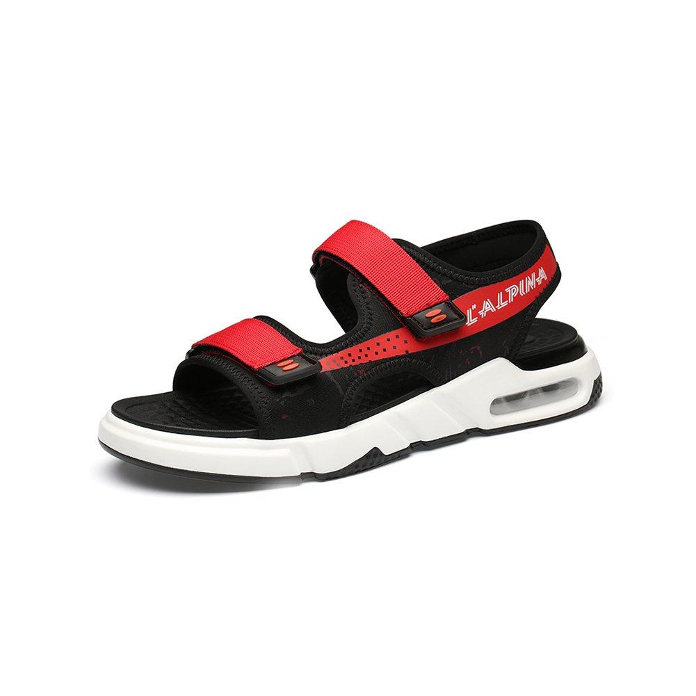 WYYY Calzado De Hombre Sandalias Temporada De Verano Doble Uso Fondo Suave Punta Abierta Velcro Sandalias Exterior Zapatos De Playa Zapatos Casuales Sandalias De Playa EU39/UK6.5|Rojo