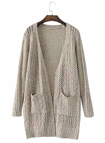 Futurino Women's Open Front Hollow Out Cable Knit Pockets Cardigan Sweater