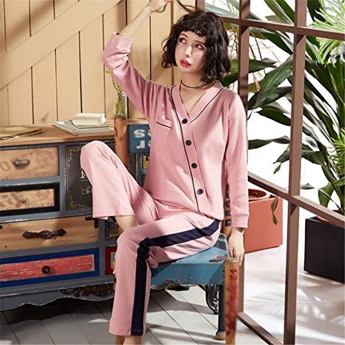 lunghe primavera la autunno pantaloni per XLNNSY Pigiama e casa donna maniche da in Rosa a cotone x6pUFw