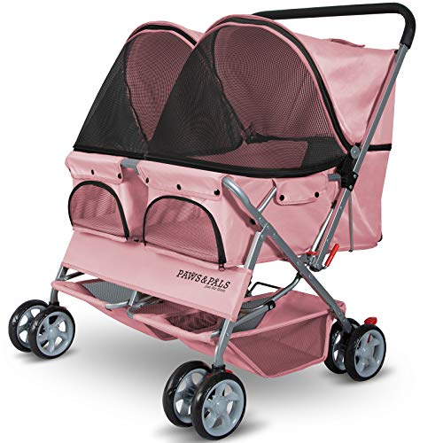 Paws & Pals Double Dog Stroller - Pet Strollers for Small Medium Dogs Cats Two Doggy Puppy or 2 Kitty Cat Carriage Buggy - Fold-able Animal Pets Doggie Cart Carriages, Pink