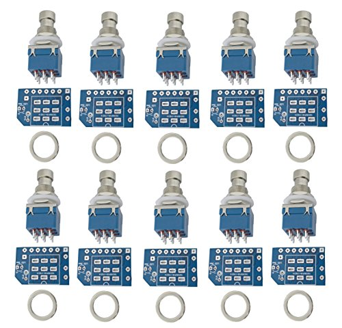 10 pcs 3pdt Stomp Footswitch incl PCB incl metal washer, for Guitar Pedal True Bypass foot switch 9 pin