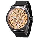 Mens Automatic Skeleton Mechanical Watch Mesh Band Luxury Business Casual Stainless Steel Analog Watch Black