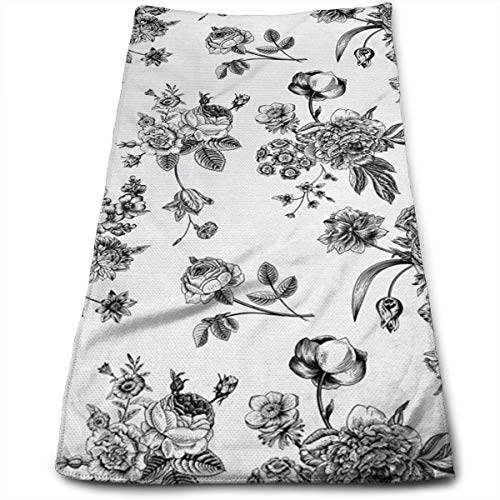 SWATMOGI Vintage Floral Pattern Victorian Classic Face Towel,Hand Towel,Kitchen Towels-Dish 3D Design Pattern Towel,Towels for The Kitchen,Cleaning,Cooking,Baking,Dishwashing Towel 12x27.5in