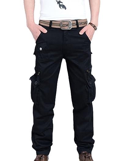 b3ace5aa1d Pantalón Cargo De Hombre Con Bolsillos Laterales Pantalones Militar Largos  Casuales Pantalones De Trabajo - Negro