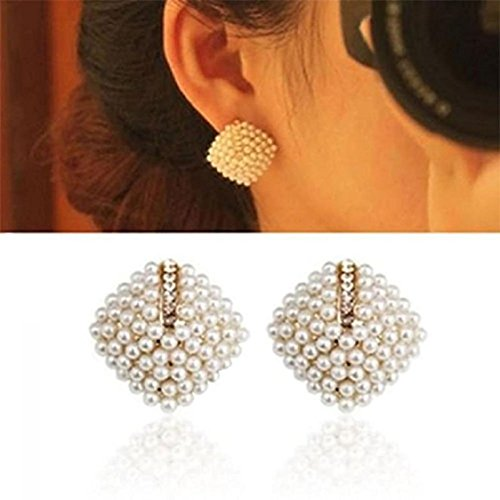 (Ikevan 2017 New Fashion Women's 1 Pair Fashion OL Style Women Stud Earrings Pearl Rhombus Crystal Rhinestone)
