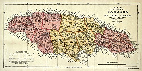 MAP of JAMAICA Mapa de la isla de Jamaica 1893 - measures 24