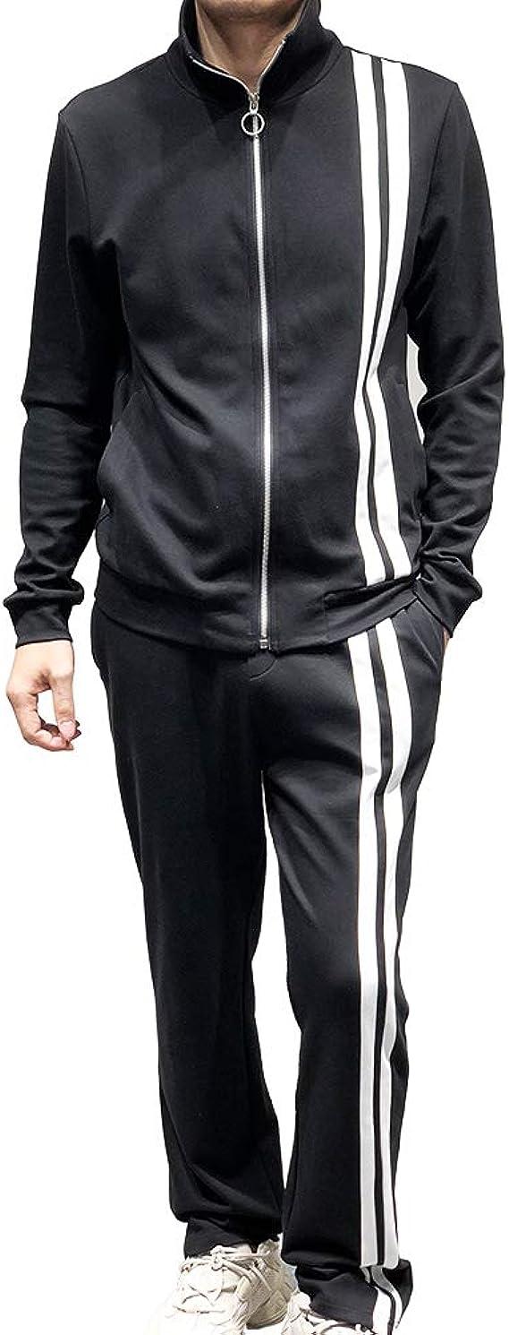 100% Algodón Hombres Atlético Manga Larga Lana Cierre Completo Gimnasio Chandal Juego de Jogging Desgaste Activo Suit Trainingsanzug Sport (Negro, L): Amazon.es: Ropa y accesorios