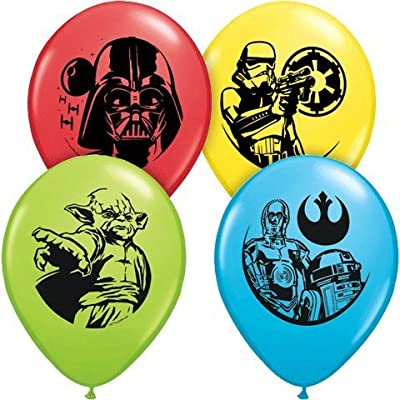 "Star Wars Assorted Color 11"" Latex Balloons - Package of 12"
