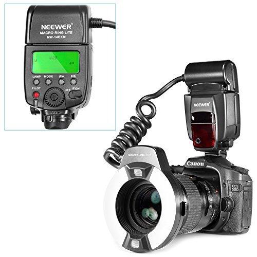 NEEWER クローズアップNW-14EXMユニバーサルLEDマクロリングフラッシュライト AFアシストランプ付き Canon Nikon Sony Panasonic Olympus Fujifilm Pentax などシングル接点ホットシューを持つ他のデジタル一眼レフカメラに対応 の商品画像