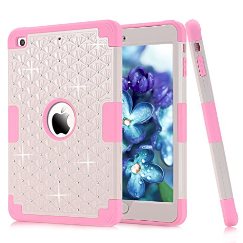 Shockproof Hybrid PC and Silicone Defender Case with Stylus and Screen Protector for iPad Mini / Mini 2 / Mini 3 - White / Pink (Pink Ipad Mini Case compare prices)