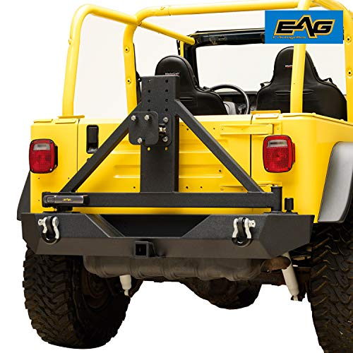 - EAG EZ Grip Rear Bumper with Tire Carrier Heavy Duty Fit for 87-06 Jeep Wrangler TJ YJ