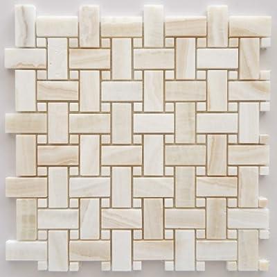 Premium White Onyx VEIN-CUT Basketweave Polished Mosaic Tile with White Onyx Dots