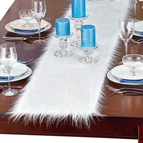 Collections Etc Elegant Winter Faux Fur Table Runner, Dining Room Linens - Holiday Decor for Party